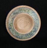 wood, mixed media, plate, calcite, epoxy, inlay