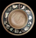 mixed media, wood, maple platter, abalone shell, inlay