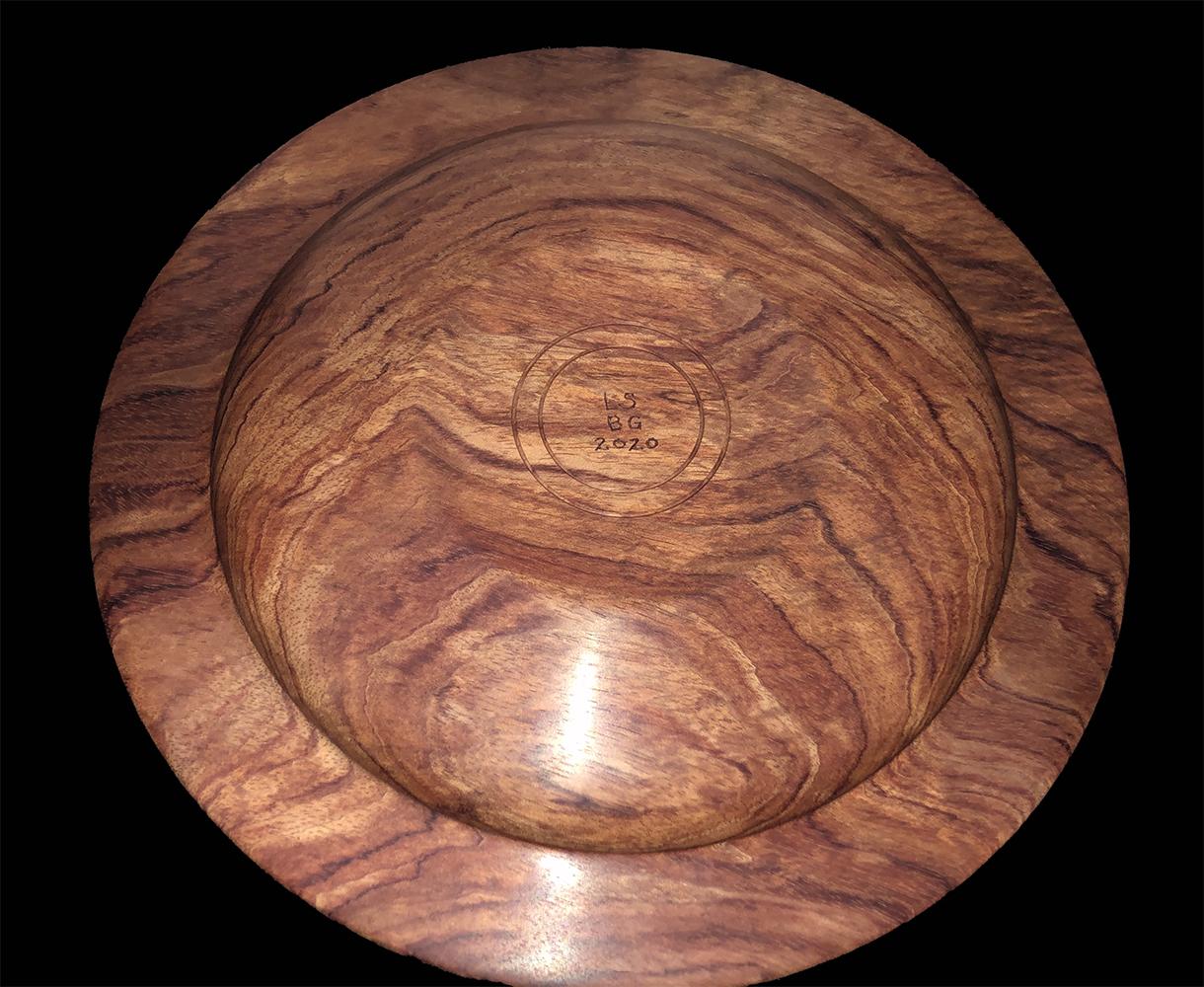 bubinga platter with rainforest jasper inlay