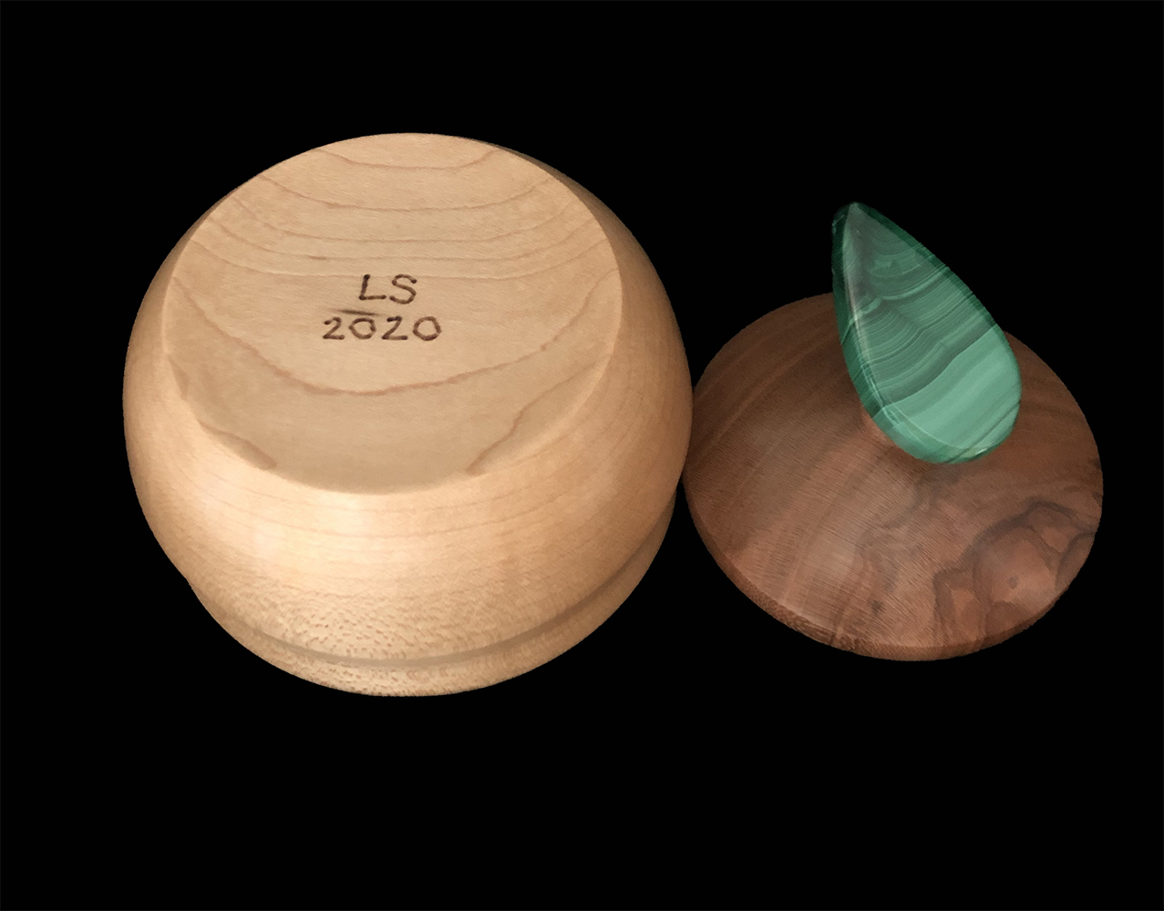 maple box with cherry lid and malachite handle
