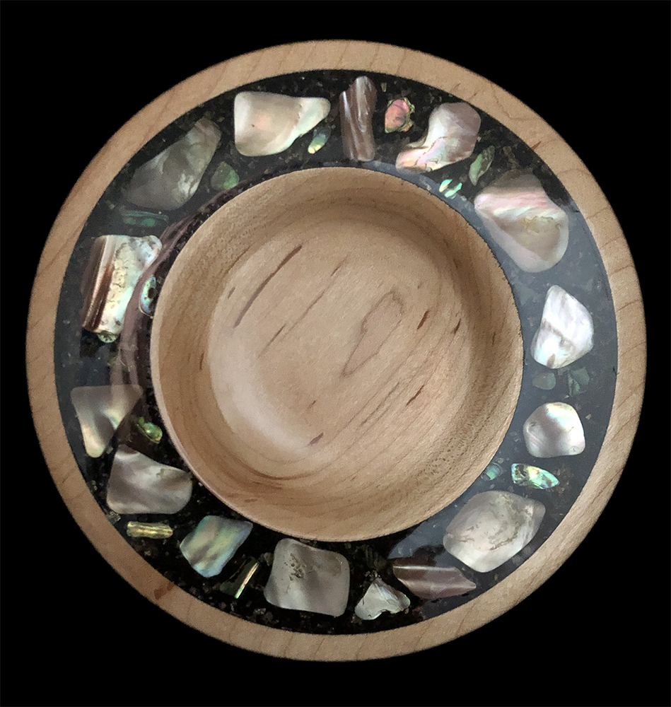 maple platter with abalone shell inlay
