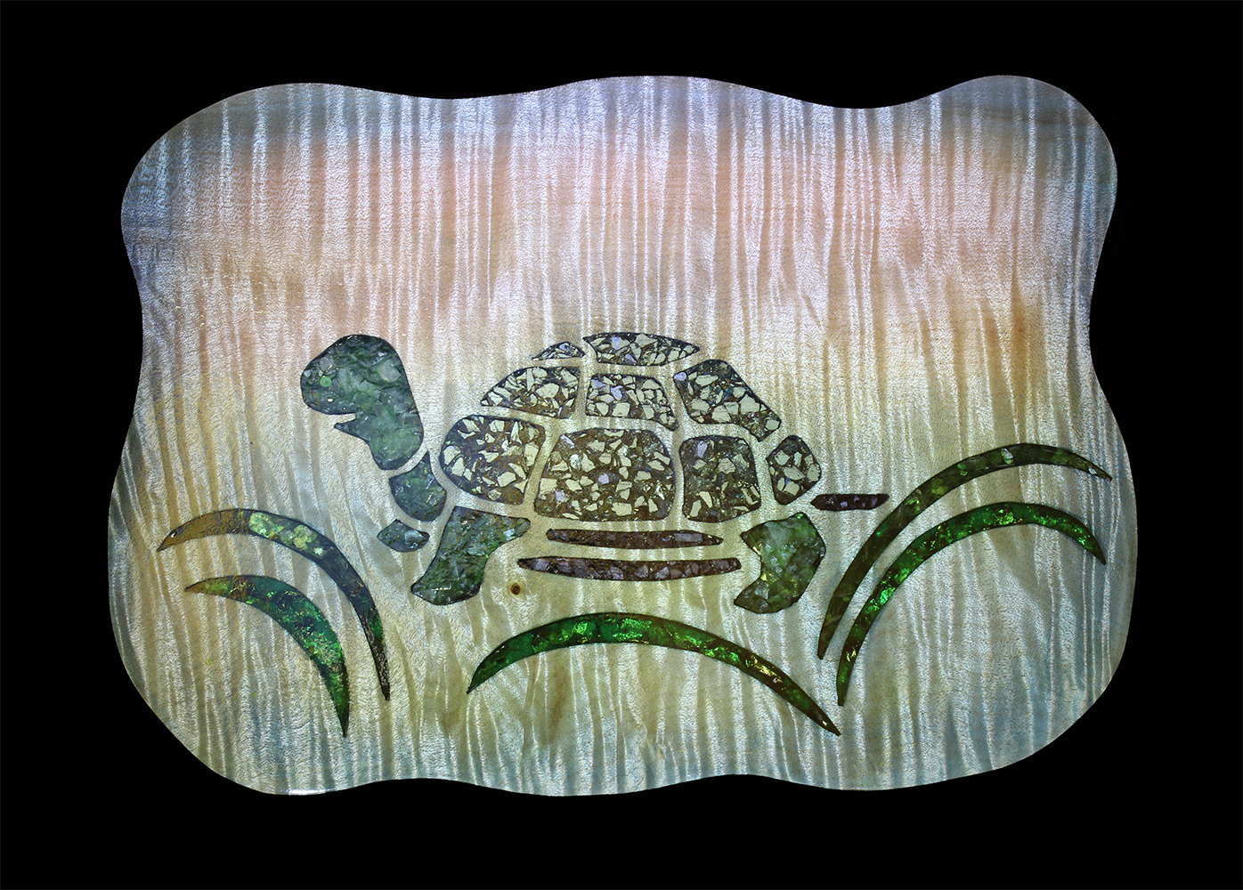 maple turtle platter with inlay