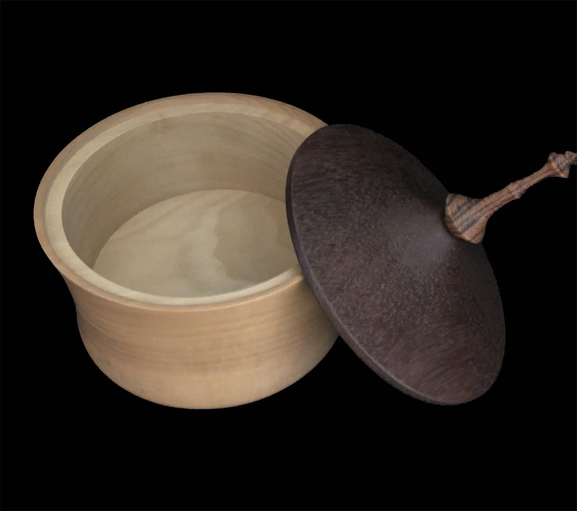 poplar box with ironwood lid and zebra wood finial