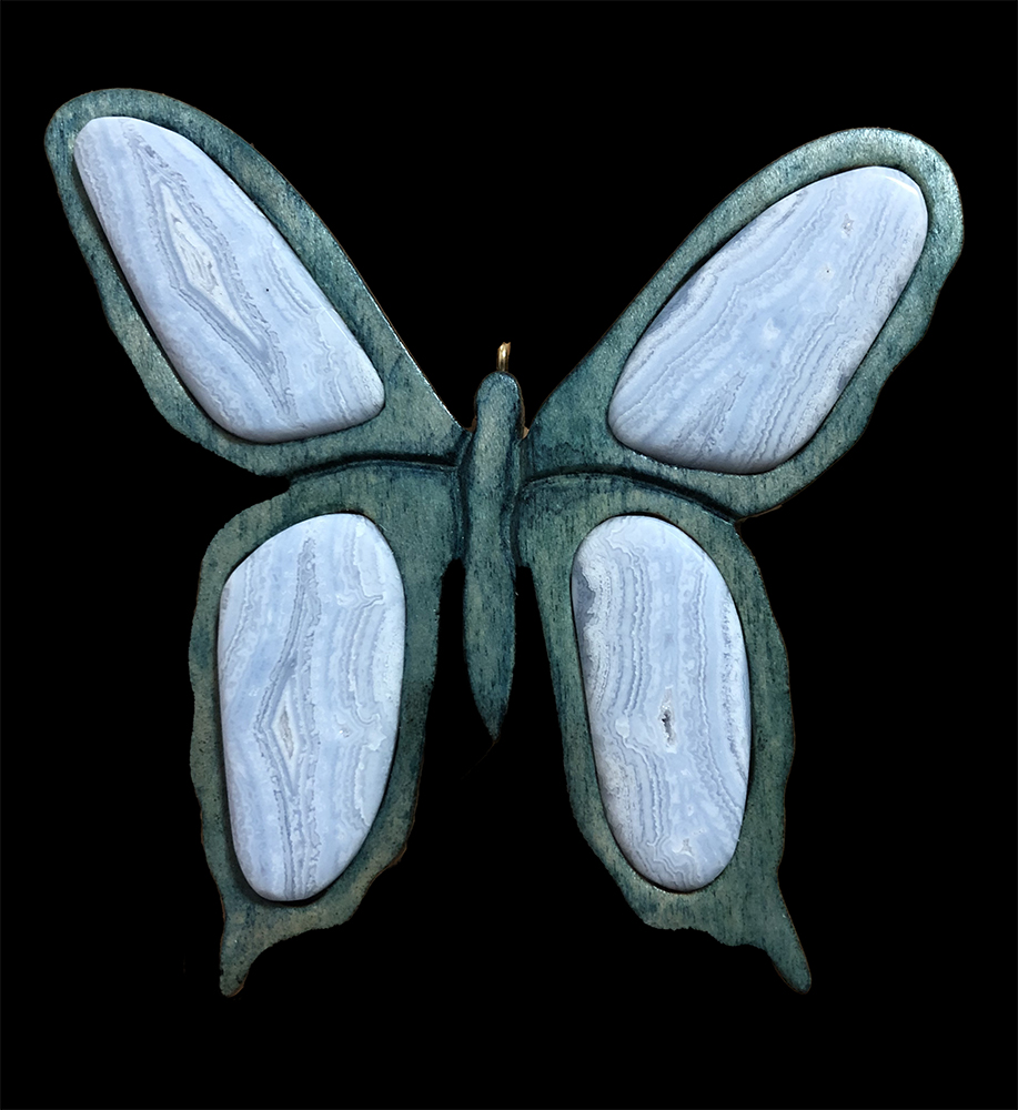 poplar butterfly (dyed) with blue lace agate wing insets