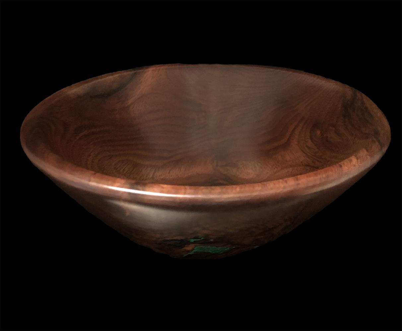 walnut bowl with malachite inlay